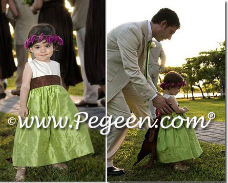 Sprite Green and chocolate silk toddler flower girl dresses