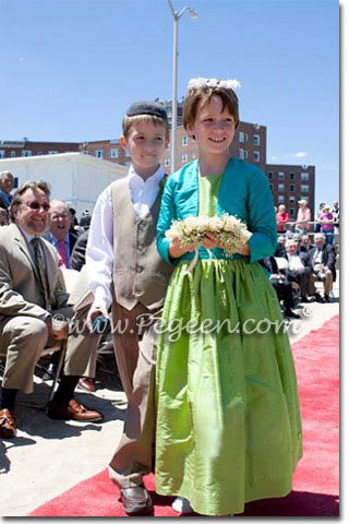 Apple Green and Teal Flower girl dresses with bolero jacket | Pegeen Style 398