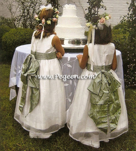 Sage green silk flower girl dress