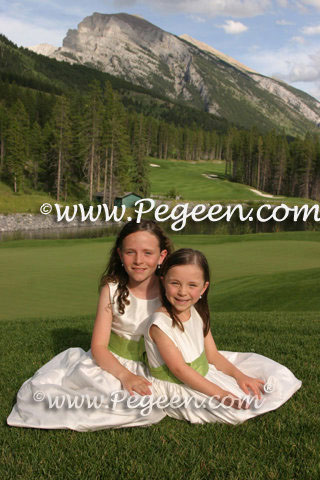Apple Green and New Ivory Silk Flower Girl Dresses