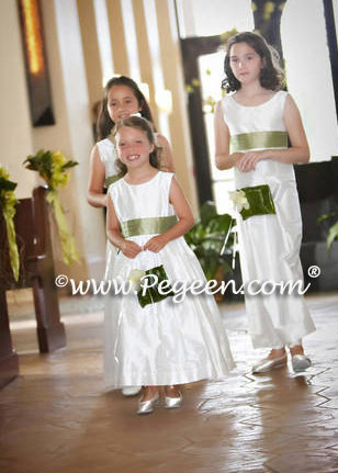 sage green flower girl and jr bridesmaid dress