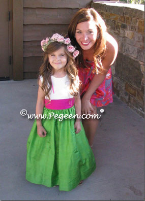 Emerald green and hot pink silk flower girl dress