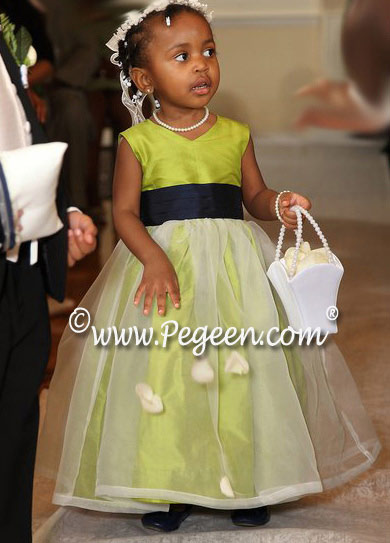 Organza, chartreuse green and navy Silk flower girl dresses - Pegeen Classics Style 301