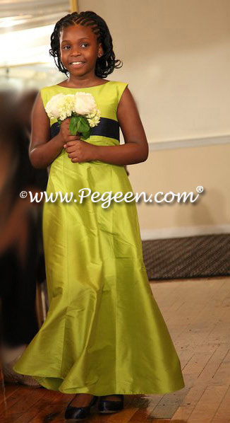 Citrus green silk flower girl dress