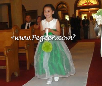 Flower girl dresses style 301 in new ivory and emerald green silk