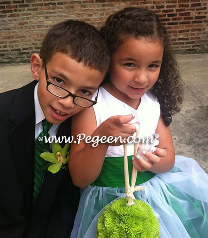 Custom Flower Girl Dresses in Emerald Green and Antique White Pegeen Classic 301