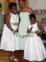 Plus size Jr Bridesmaids Dress in White and Green