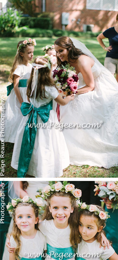 Spruce green silk flower girl dress