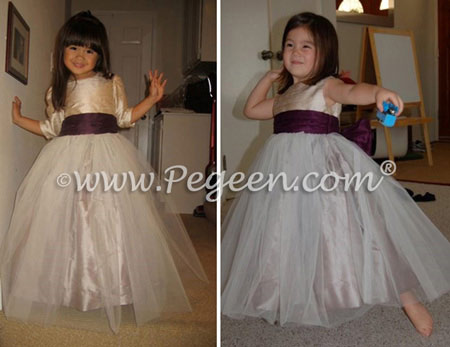 From Pegeen Classics - Girls Flower Girl Dresses in Tulle in toffee and deep plum