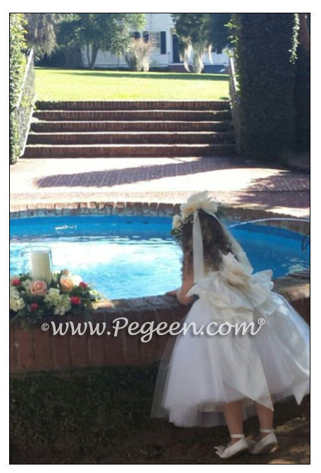 Ivory Flower Girl Dress with Pegeen Signature Bustle