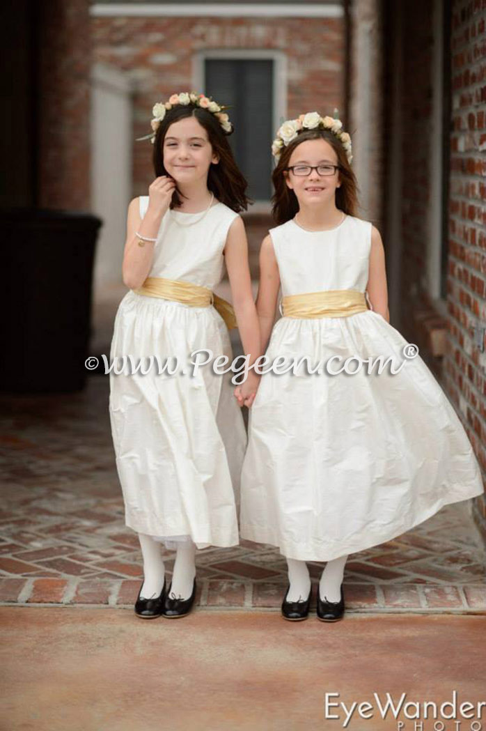 Pegeen flower girl dress reviews gallery pg 1 flower girl dresses in new ivory silk with spun gold sash style 300 by pegeen mightylinksfo