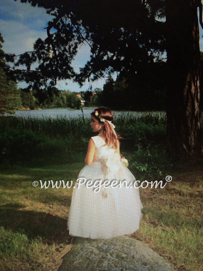 Ivory Flower Girl Dresses with champagne signature bustle