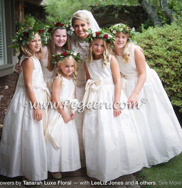 Ivory Flower Girl Dresses with champagne (toffee) sash