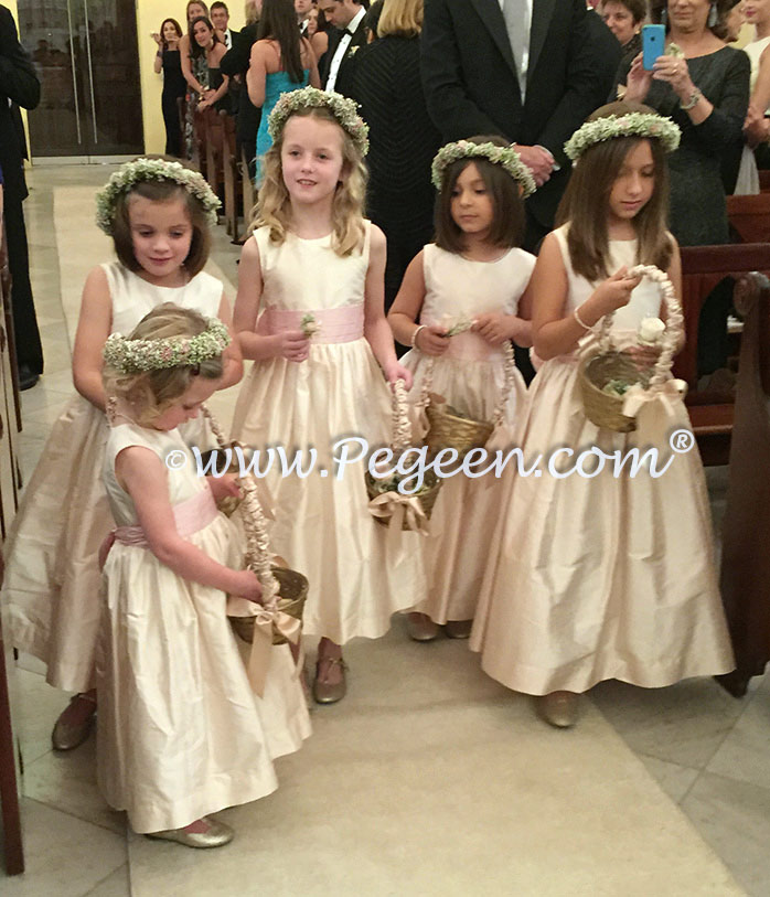 Pegeen Communion or Flower Girl Dress Style 398 in New Ivory and Peony Pink