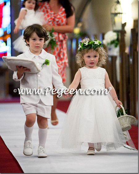 Pegeen Style 413 Ivory Silk and Beaded Aloncon Lace silk and tulle flower girl dresses