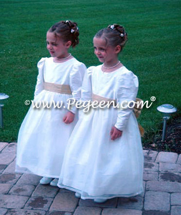 Flower girl dress with long sleeves in spun gold and new ivory silk and organza