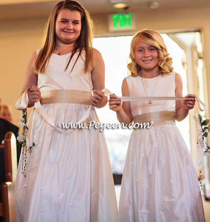 Pegeen Communion or Flower Girl Dress Style 398 in New Ivory and Toffee