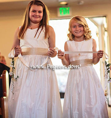 Jr. Bridesmaids dresses in new ivory silk with wheat sash Style 398 by Pegeen