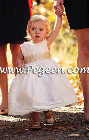 Flower Girl dresses in new ivory silk with wheat sash Style 398 by Pegeen