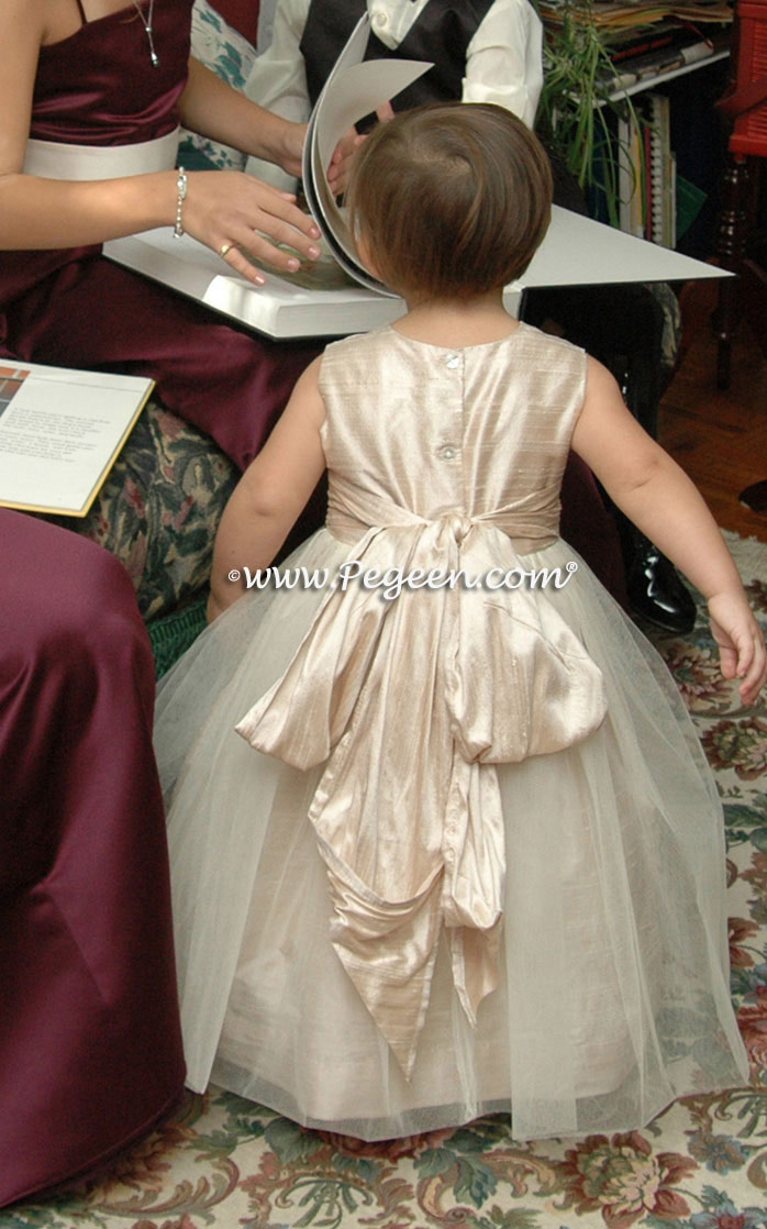 Ivory and Champagne flower girl dresses