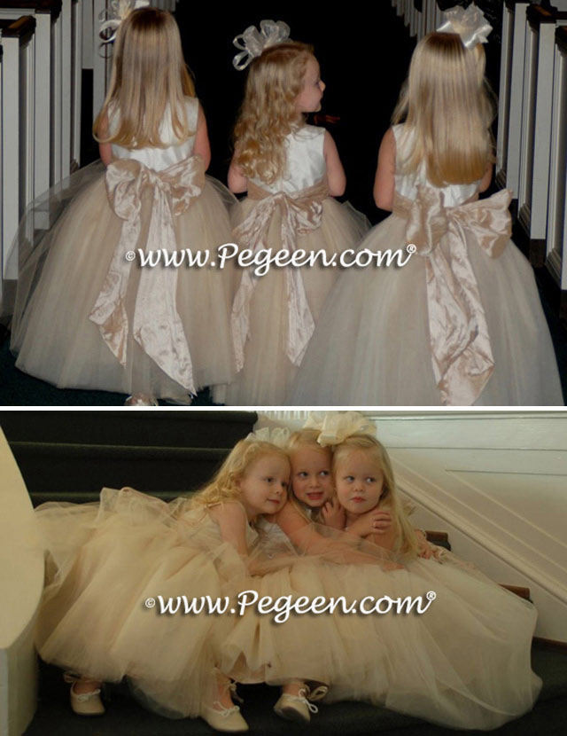 Pegeen Couture Flower Girl Dress Style 402 in ivory and champagne, toffee sash and tulle flower girl dresses