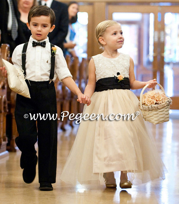 Pegeen Couture Flower Girl Dress Style 413 Aloncon lace in ivory and toffee, chocolate sash and tulle flower girl dresses