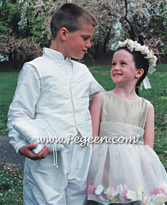 Champagne flower girl dress and Boy's Page Boy Suit