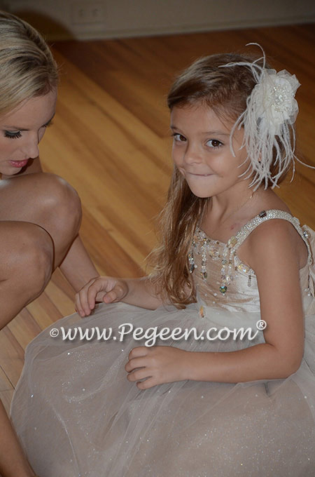 Flower girl dresses 904 in toffee and champagne tulle and silk