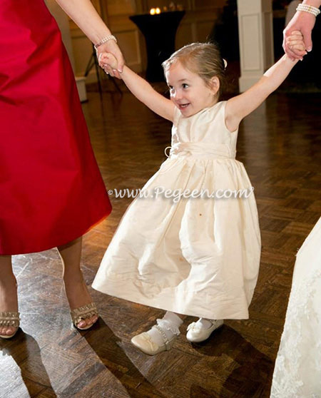 New Ivory Silk Flower Girl Dresses - Style 398