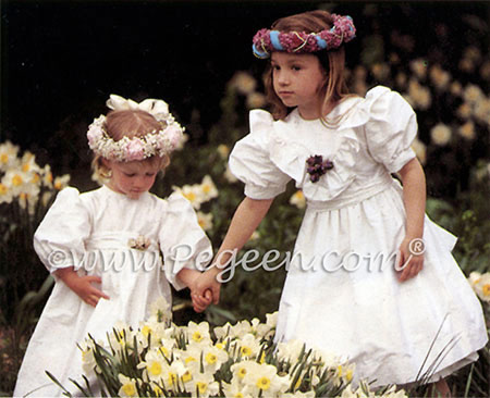 Matching silk flower girl dresses from Pegeen Classics