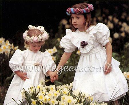 Matching silk flower girl dresses from Pegeen Classics