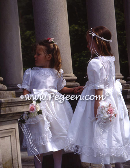 Matching silk flower girl dresses from Pegeen Classics with English Laces