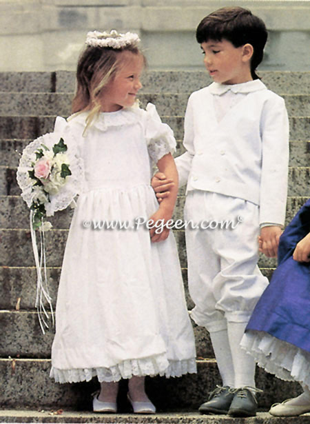 Flower girl dress and ring bearer suit by Pegeen.com