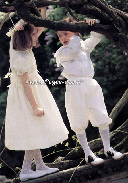 Girls Flower Girl Dresses in silk with matching ringbearer suit style in silk with English Laces Style 580