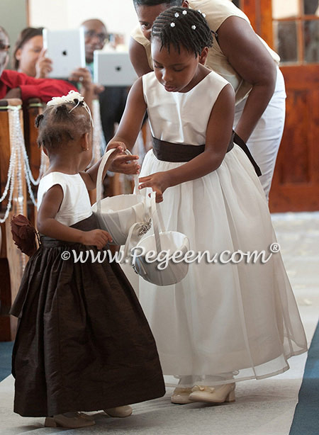 From Pegeen Classics - Girls Flower Girl Dresses in Ivory and Semi Sweet Silk