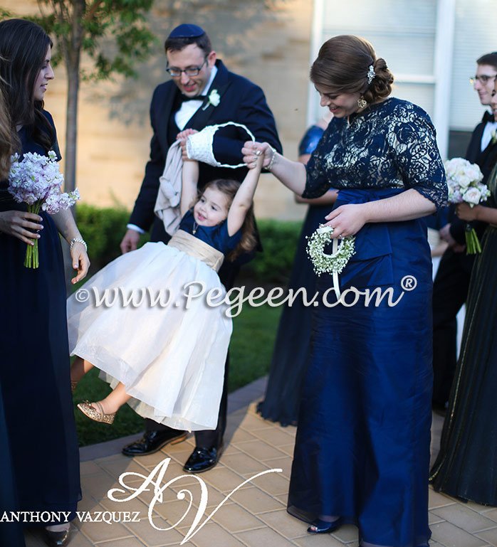 Flower Girl Dress Of The Month In Navy Blue And Spun Gold