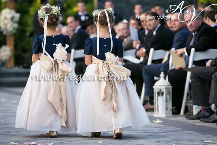 Flower Girl Dresses in Navy Blue and creme silk