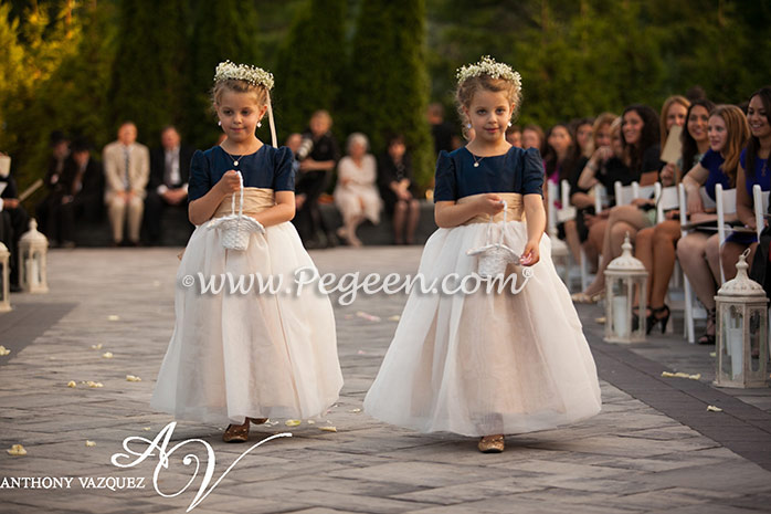 Flower girl dress of the month in navy blue and spun gold pegeen pegeen wedding of the month october 2014 features custom flower girl dresses style mightylinksfo