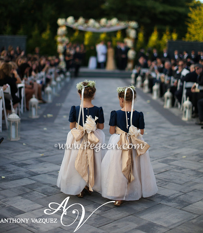 cb296fac8e ... Pegeen.com Wedding of the Month - October 2014 features Custom Flower  Girl Dresses Style 802 in Navy Blue silk with a ruffled sash and hand  rolled ...