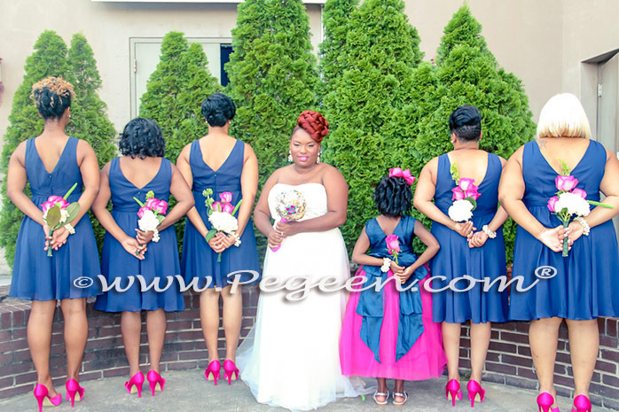 Navy and Boing (hot pink) wedding theme - Style 402 from the Pegeen Couture Flower Girl Dress Collection