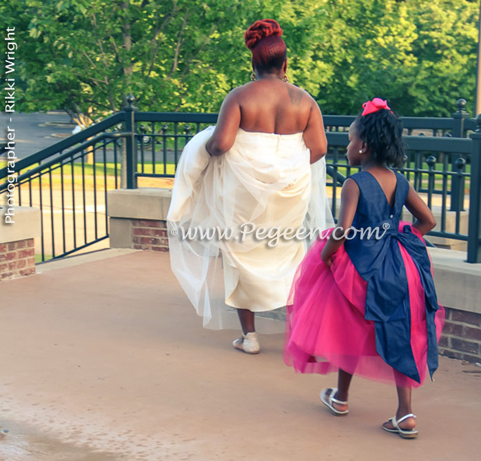 Custom Flower Girl Dresses Style 402 in Shock (Hot) Pink silk with a Navy Blue Cinderella sash and Hot Pink Tulle in Shock (Hot) Pink