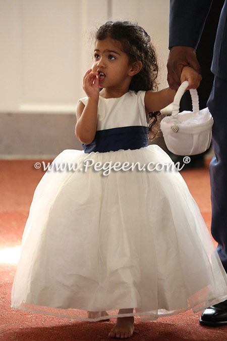 Antique White and Navy Silk and Organza Dress with Cinderella Bow - Style 394