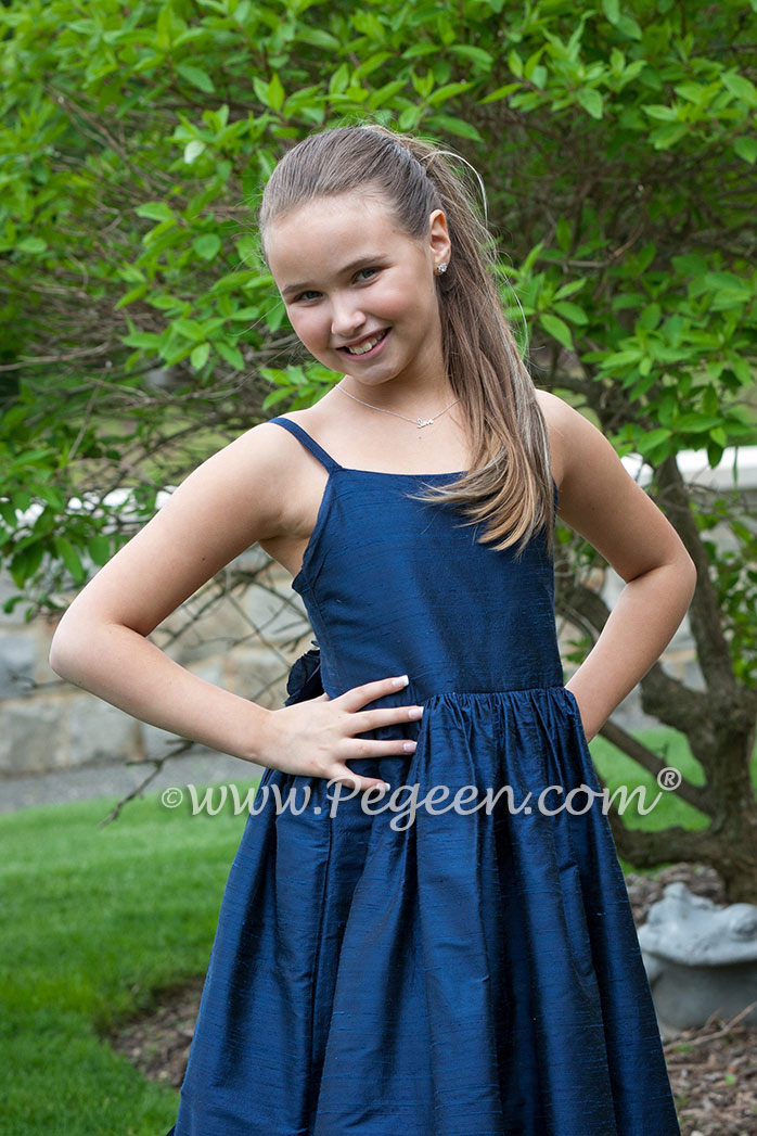 Navy Blue Jr Bridesmaids Dress with Spaghetti Straps