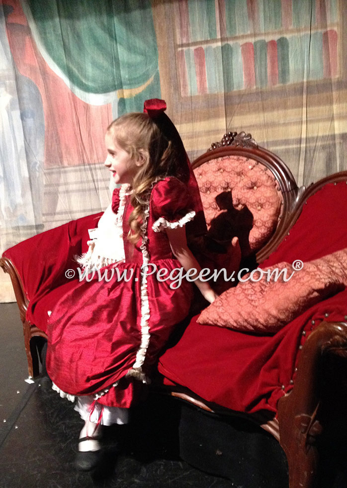 Claret silk Victorian style Nutcracker Party Scene Costume | Pegeen