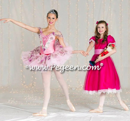 Clara's Nutcracker Party Scene Dress in Raspberry with Rose Sash and Raspberry Tulle