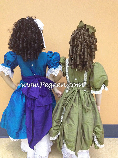 Nutcracker Party Scene Dresses, Left 745 in Malibu and Royal Purple and 397 on Right in Olive Green