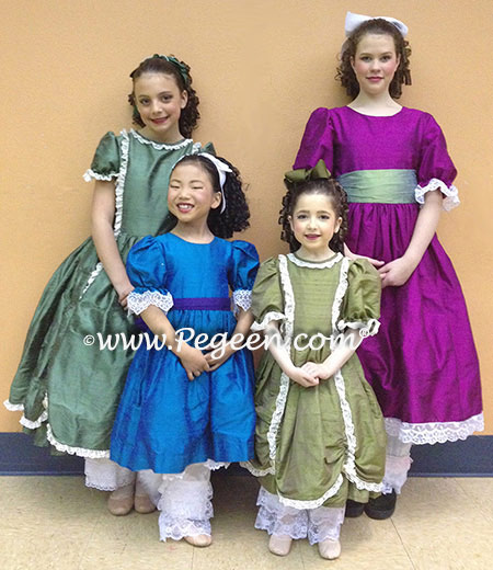 Nutcracker Party Scene Dresses, BACK ROW: Left 397 in Basil Green and Right in Boysenberry with Wintergreen Sash - details style 39