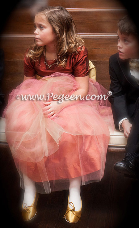 custom flower girl dress in Salmon Flame and Mountain Fall with Melon Tulle