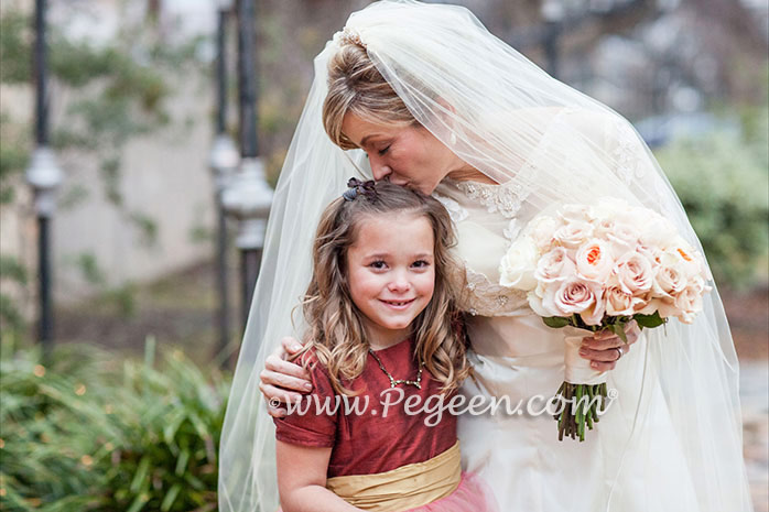 Mountain Fall Silk & Tulle with Spun Gold sash flower girl dress