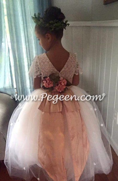 Flower Girl Dress Style 414 - Burnout Lace, Tulle and Peach Silk